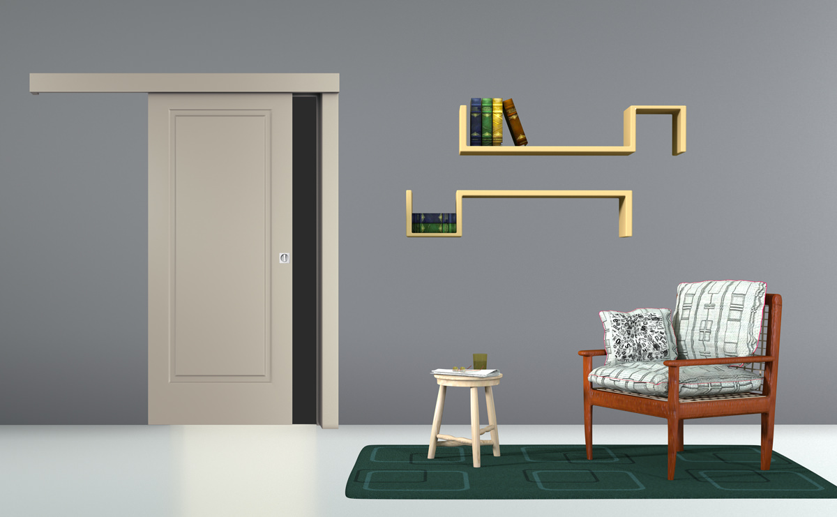 Wall-mounted sliding door